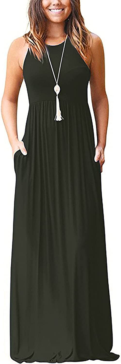 OIUCVGB Maxi Dress for Women Loose Casual Racerback Crewneck Long Sleeve/Sleeveless Long Dresses with Pockets