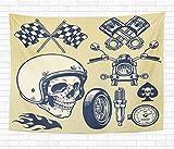 N\A Maison Tapisserie décorative tenture Murale Drapeau de la Main Vintage Moto Course crâne Casque tapisseries Couverture Murale pour dortoir Salon Chambre