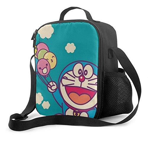 Lawenp Bolsa de almuerzo Fiambrera aislada Doraemon con globo Bolsa de asas Bolsa más fresca Recipientes de preparación de comidas para mujeres hombres adultos