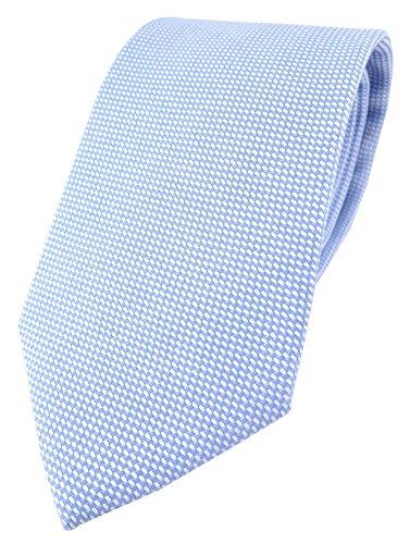 TigerTie Designer Krawatte Pique in hellblau-weiss gemustert - 100% Baumwolle - Krawattenbreite 8 cm