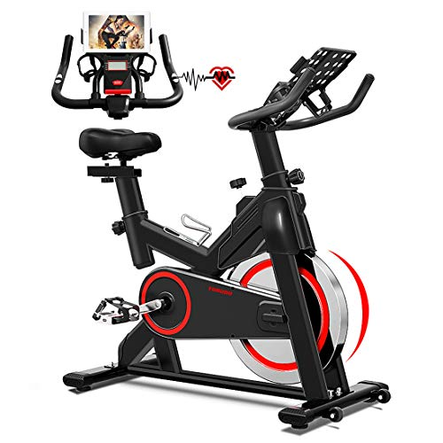TURUDU Spin Bike, Indoor Cycling Bike Stationary, Belt Drive Indoor Exercise Bike for Home Cardio Gym, with 35 LBS Upgraded Solid Flywheel, LCD Display & Comfortable Seat Cushion