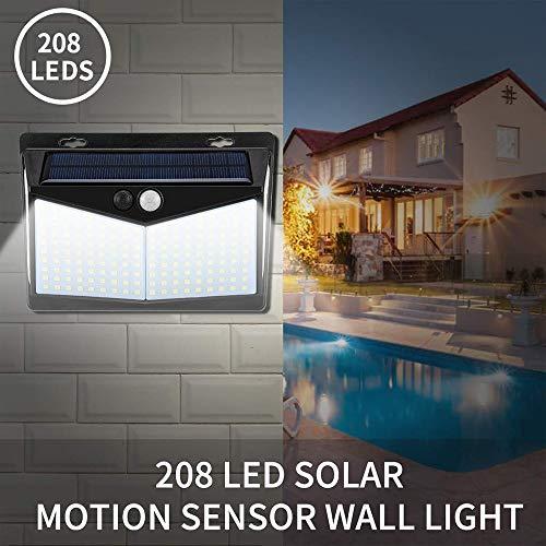 JDD 208LED zonnelicht sensor voor buiten, binnen, IP65, waterdicht, 5 V, stralingshoek, 270 °, voor Tuin Path Yard en Walkway (zwart)