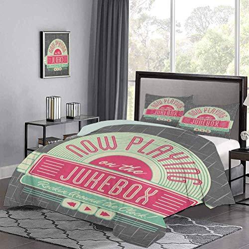 Tagesdecken Tagesdecke Anthrazitgrauer Hintergr& mit 50er Jahren inspiriert Radio Music Box Bild Teen Bettbezug Ultraweiche & langlebige Mintgrün Pink & Weiß