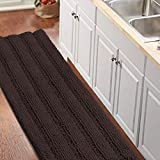 Turquoize Bathroom Runner Rug Extra Long Chenille Area Rug Non-Slip Blue Bathroom Rug Shag Shower Mat Blue Bathroom Rugs Kitchen Rugs Washable Bath Mats for Bathroom 59 x 20 inches, Brown