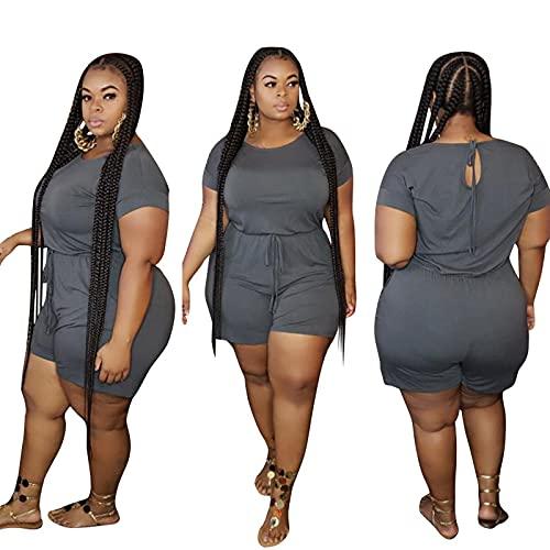 SJWJ Mujeres Casuales Sueltos Cortos más Talla de tamaño para Mujeres Casuales,Gris,4XL