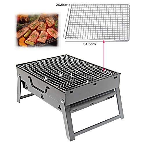 51xZqB1iyyL - Grills Kochplatten Holzkohlegrill im Freien beweglichen Faltbarer Barbecue Gratis Maschendraht Grillzubehör (Size : L)