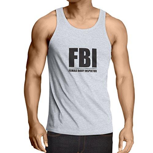 Camisetas de Tirantes para Hombre Inspector del Cuerpo Femenino - Regalos Divertidos para los Hombres, Citas chistosas (Medium Blanco Negro)