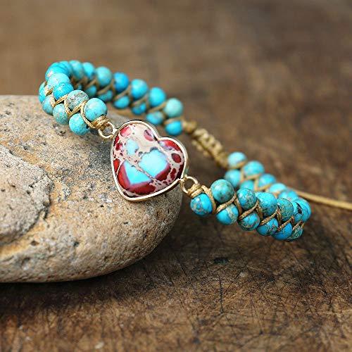 QWKLNRA Zodiac armband justerbart flerlagers unisex pararmband, handgjorda hjärtformade...