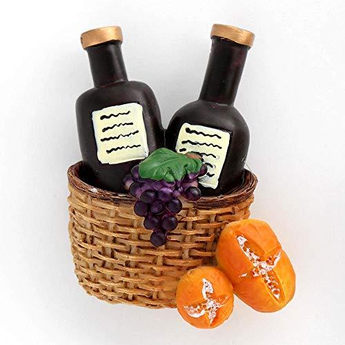 Huixindd Imán magnético imán Mosaico Jugo Taza Leche Taza de café Naranja Jugo Botella Vino Cesta 3D refrigerador refrigerador refrigerador (Color : Basket Wine)