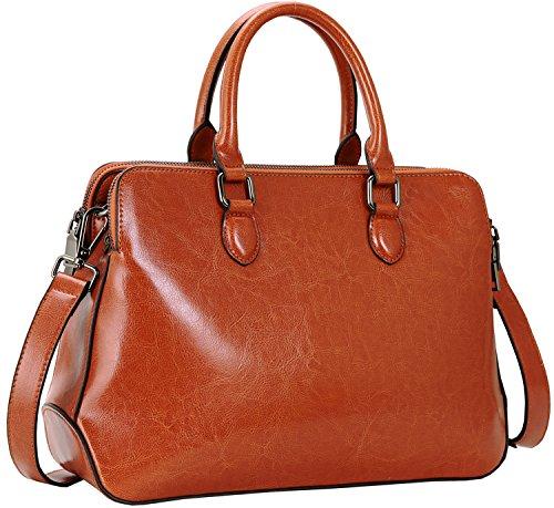Heshe Leather Womens Handbags Totes Top Handle Shoulder Bag Satchel Ladies Purses (SBrown-R)