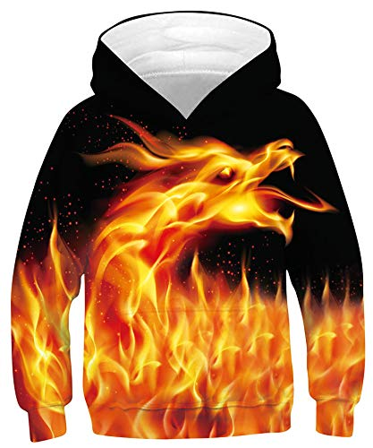 Goodstoworld Kapuzenpullover Kinder 3D Drachen Druck Jumper Hoodie Personalisiert Cosplay Sweatshirt Herbst Winter Kapuzenpullis Klassisch Pullover 12-13 Jahre
