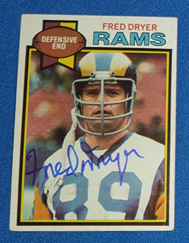 Fred Dryer Signed 1979 Topps LA Rams Football Card #453 SDSU Aztecs Hunter Auto - NFL Autographed Football Cards