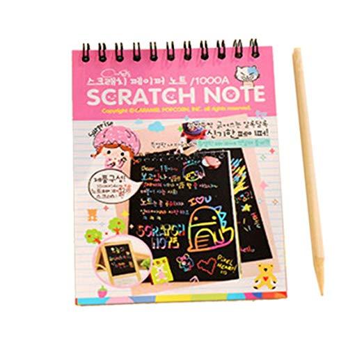 Paperllong® Y031 Creative Couleur Bricolage Bobine Scratch Photo Enfants Graffiti Croquis Livre Scratch Peinture Image Rose