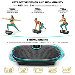 Sportstech Fair Novelty! Vibration Plate VP250 Slim Curve Design   Fat Burning & Muscle Building   Ultra Silent with 180 Levels   7+1 Training Programs incl. Yoga option   with Bluetooth Speaker