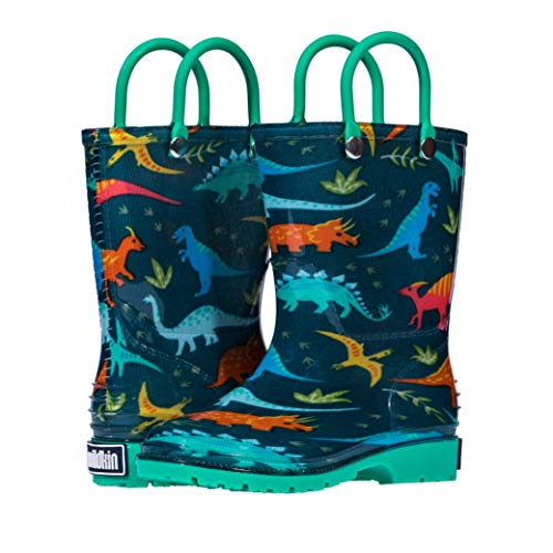 Wildkin Kids Rain Boots for Toddlers Boys & Girls, 100% Water Proof Rain Boots for Kids with Easy Slip-On Handles, Features No-Slip Tread, Ideal for All Seasons, BPA-Free, Size 9 (Jurassic Dinosaurs)