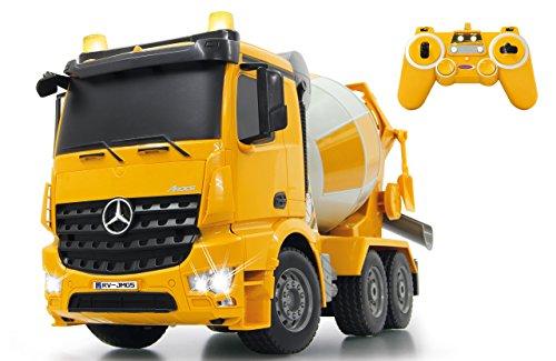 Jamara 404930 - Betonmischer Mercedes Arocs 1:20 2,4GHz – rechts / links drehende Mischtrommel mit Entladefunktion, realistischer Motorsound,Hupe,Rückfahrwarnsound,4 Radantrieb,gelbe LED Signallichter