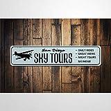 BYRON HOYLE Sky Tours, placa de metal vintage, placa de estaño, para colgar en la pared, decoración rústica de pared para el hogar, garaje, cafetería, bar, pub, casa de campo, sala de estar