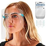 TCP Global Salon World Safety Face Shields with Glasses Frames (Pack of 10) - Ultra Clear Protective Full Face Shields