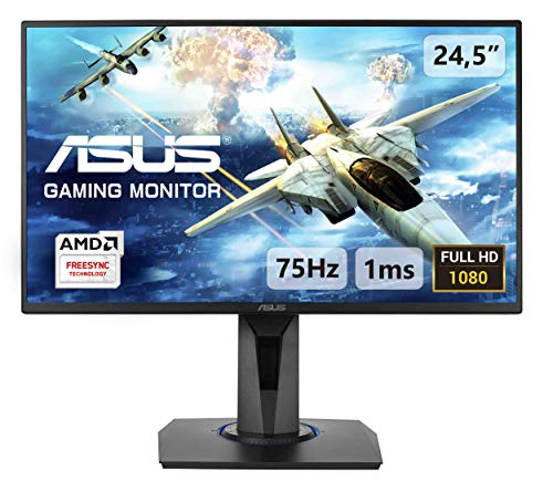ASUS VG255H 25'' (24.5'') FHD (1920 x 1080) Gaming Monitor per PC, 1 ms, 75 Hz, HDMI, D-Sub, Super Narrow Bezel, FreeSync, Filtro Luce Blu, Flicker Free