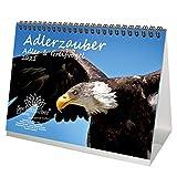 Adlerzauber Adler & Greifvögel DIN A5 Tischkalender für 2021 - Geschenkset Inhalt: 1x Kalender, 1x Weihnachts- und 1x Grußkarte (insgesamt 3 Teile)