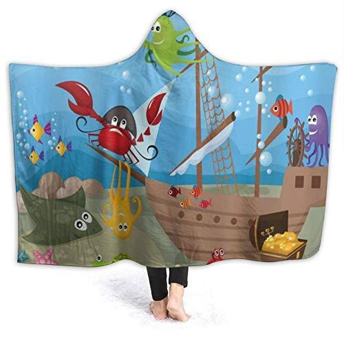 SUHETI Tragbare Hoodie Decke,Ocean Pirate Kids Unterwasserfisch Sea Marine...