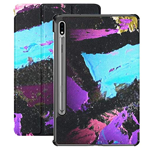 Funda Galaxy Tablet S7 Plus de 12,4 Pulgadas 2020 con Soporte para bolígrafo S, Pintura Moderna Abstracta Fragmento Cuchillo de Paleta Funda Protectora con Soporte Delgado para Samsung