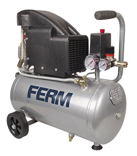 FERM CRM1045 Compressor - 1100W - 1,5 PK - 24 liter - Olie - Max. 8 bar - inclusief 1/4 inch Universele koppeling en 2 manometers
