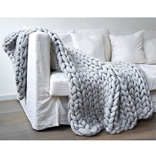 VOCD Chunky Knit Blanket, Giant Blanket, Arm Throw Blanket, Large Cable Knitted Soft Cosy Blanket, Perfekt Für Sofa, Bed Blanket, Wollgarndecke Für Kalte Tage