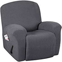 H.VERSAILTEX Super Stretch Couch Covers Recliner Covers Recliner Chair Covers Form Fitted Standard / Oversized Power Lift Reclining Slipcovers, Feature Soft Thick Jacquard, Grey, 1 Pack
