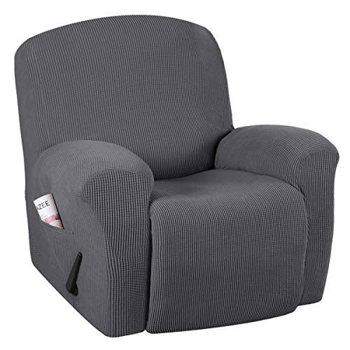 Stretch Recliner Slipcovers 1-Piece Durable Soft High Stretch Jacquard Sofa Furniture Cover Form Fit Stretch Stylish Recliner Cover/Protector (Recliner, Gray)