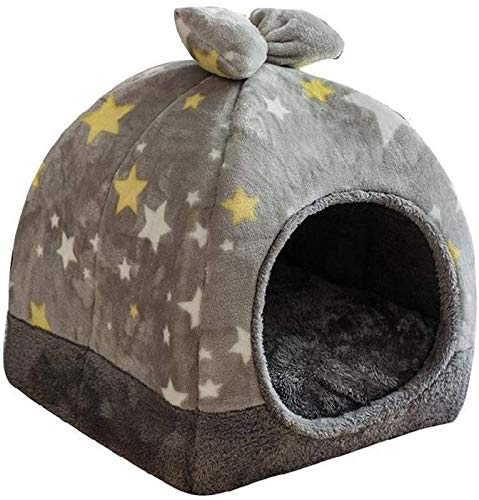 JPSOUP Pet House Closed Pet Bed Bottom Slip Resistant Plush Fabric Removable and Washable Inner Pad Ideal for All Cats and Small Dogs Little Stars Pattern (Gray) (Size : M) (Size : Large)