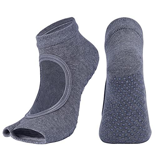 ZSQAW Nuevas Mujeres Calcetines de Yoga Dos Dedo del pie Deportivo algodón Anti resbalón Pilates Ventilación de calcetín de Secado rápido Ballet Professiona Danza Zapatillas de Calcetines