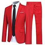 Slim Fit 2 Piece Suit For Men One Button Casual/Formal/Wedding Tuxedo,Red,Small