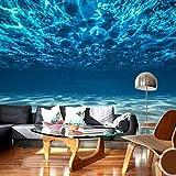 SDzuile Papel Pintado Pared 3D Fotomurales Azul Mar Mar Profundo Paisaje 400X280Cm Fotomural Dormitorio Salon Decoración De Decorativos Papel Fondo De Pantalla De La Habitación De Los Niños