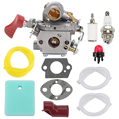 Fuel Li 545008042 545189502 Carburetor for Husqvarna Poulan Pro PP338PT PP033 PP133 PP333 Gas Trimmer Zama C1M-W44 33cc Carb with 545195901 Air Filter Turn Up Kit