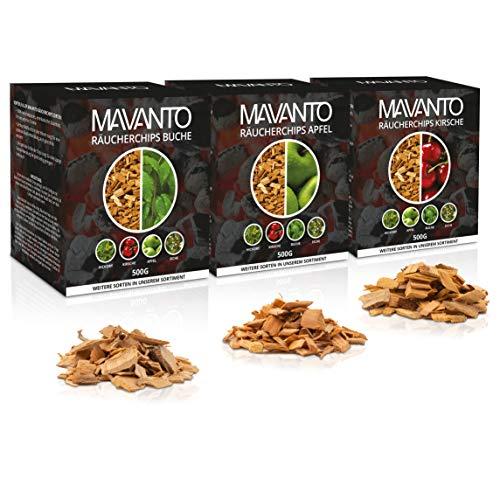 MAVANTO® XXL Profi Räucherchips für das perfekte Raucharoma - rauchintensive Holzchips aus den USA in 5 verschiedenen Sorten (3X 500g Set (Apfel, Kirsche, Buche))