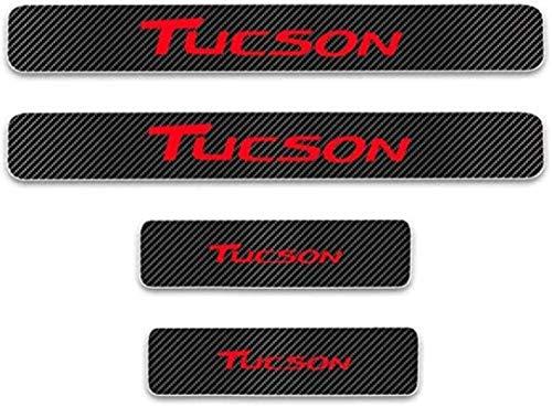 Anti-Kratz-Platte für Autoschwelle für Passend für 4 Stück Externes Carbon-Faser-Leder-Auto Kick-Platten Pedal for Hyundai TUCSON, Einstieg Willkommen Pedal-Tritt Scuff Threshold Bar Prot.
