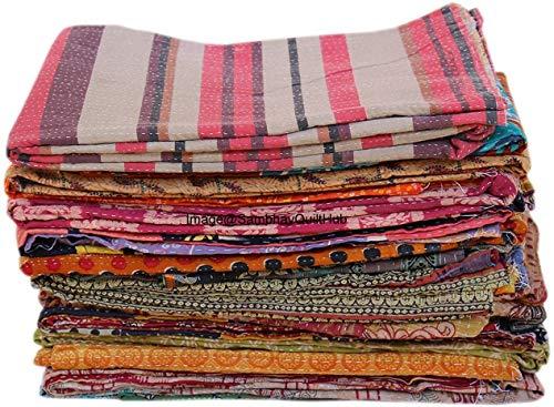 Venta al por mayor 5 lote surtido vintage kantha colcha kantha tiro algodón edredón india cama cubierta viejo sari patchwork manta tamaño doble colcha ralli