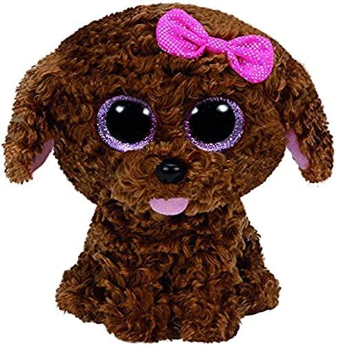 Carletto Ty 37040 Ty 37040-Plüschtier-Maddie Buddy-Hund mit Schleife, Glitzeraugen, Beanie Boo's, Large, 24 cm, braun