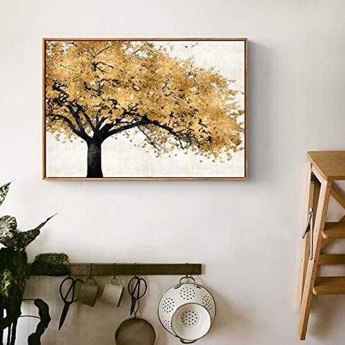Geiqianjiumai rijke, moderne boom van goud en zilver in de woonkamerposter van de abstracte kunst van zeildoek en prints maken frameloos schilderij landschap