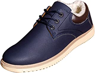 Aiweijia Men's Winter Keep Warm Leather Waterproof Rubber Sole Cotton Shoes