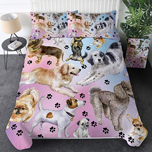 Sleepwish Dog Print Bedding for Kids Girls Boys Puppy Animal Comforter Cover Set 3 Pieces Watercolor Pastel Dog Paw Duvet Cover Dog Lover Bed Set (Purple Blue, Twin Size)