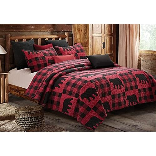 Queen QUILT SET BLACK BEAR BLUE BUFFALO CHECK Full LODGE CABIN PLAID COUNTRY