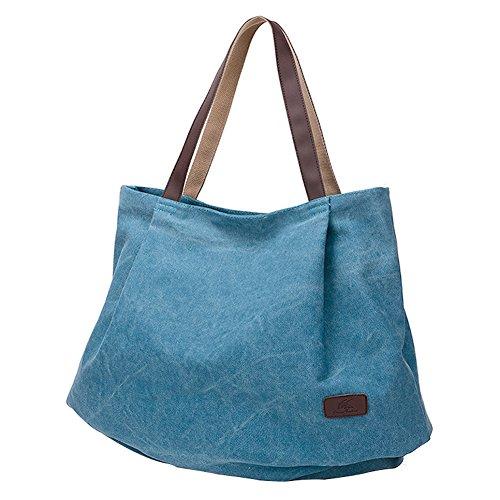 PB-SOAR Damen XXL Vintage Canvas Shopper Schultertasche Handtasche Beuteltasche Freizeittasche (Blau)