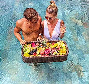 Floating Tray Luxury Floating Serving Tray Table and Bar - Swimming Pool Floats for Adults for Sandbars Spas Bath and Parties | Floating Tray for Pool Serving Drinks Brunch Food on the Water