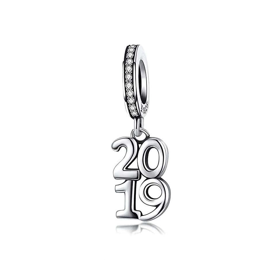 BEAUTY DANGLE 2019 Number Charm New Year Bracelet Beads 925 Sterling Silver Pendant Charms for Jewelry Making fit European Bracelet and Necklace