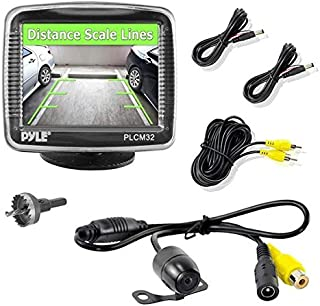 Pyle PLCM32 Car Vehicle Rear View Backup Camera & Monitor Parking/Reverse Assistance System, 3.5'' Screen, Night Vision, Distance Scale Lines, Waterproof CAM, Universal Mount