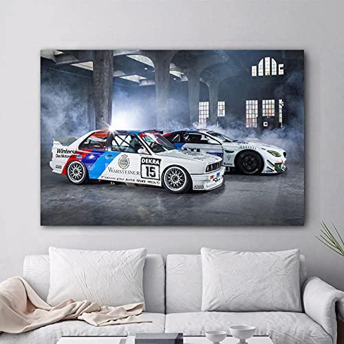 zuomo Pinturas de Lienzo Modernas Supercars BMW Tuning M6 E30 Póster de Imagen de Coche de Carreras e impresión de Arte de Pared para la decoración de la Sala de Estar 60x90cm Sin Marco