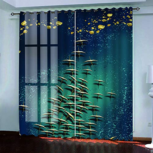 MMHJS Nordic 3D Landscape Printing Curtains, Polyester Waterproof Perforated Vertical Curtains, Hotel Bedroom Living Room Garden Balcony Blackout Curtains (2 Pieces)