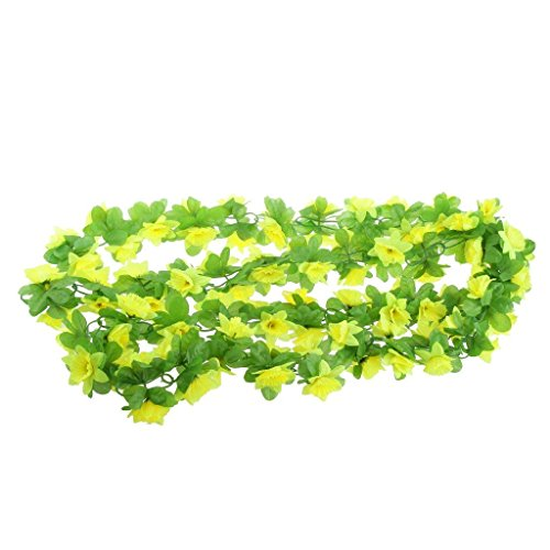 Power Ferhd Artificial Silk Daffodil Flower Vine Hanging Garland Home Party Decor 8 Colors (Yellow)